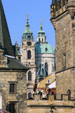 The late Snow in Prague – St. Nicholas Cathedral Royalty Free Stock Photo