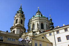 The late Snow in Prague -  St. Nicholas Cathedral Stock Image