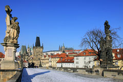 The late Snow - Pragues gothic Castle Stock Photography