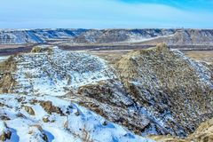 Late snows in Horse Thief Canyon. Late spring, Drumheller, Alberta, Canada Stock Photo