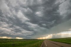 Dramatic sky of a severe thunderstorm on the plains in eastern Montana royalty free stock photography