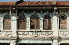Late Straits Eclectic Heritage House. An example of a Late Straits Eclectic style shophouse in the UNESCO world heritage district of Georgetown, Penang, Malaysia Royalty Free Stock Photos