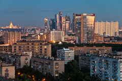 Late summer blue twilight over Moscow city Royalty Free Stock Images