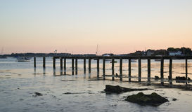 Late Summer evening landscape across harbor long exposure with j Stock Images