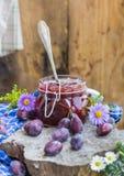 Late summer kitchen jar plum jam Stock Photo