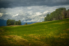 Late Summer. A mowed hay meadow under a cloudy sky in late summer royalty free stock image