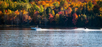 Late summer on a northern Ontario lake - getting in the last session of water skiing. Stock Photo