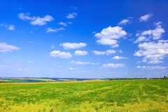 Late summer rural landscape. Into a beautiful fine day stock photography