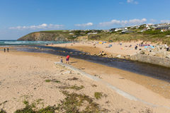 Late summer sun and fine weather drew visitors to the coast at Mawgan Porth, North Cornwall Stock Photo