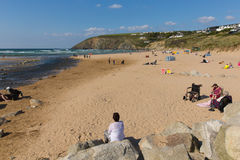 Late summer sun and fine weather drew visitors to the coast at Mawgan Porth, North Cornwall Stock Images