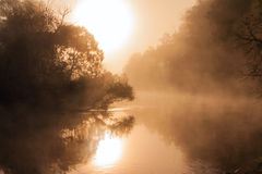 Late summer sunrise on the Istra river Stock Photo