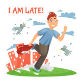 Late Teenager Running To School. And disturbing the birds at urban landscape background cartoon vector illustration stock illustration