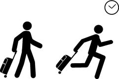 Late To Travel. A person depicted as a human representation pushes a travel bag and starts to run as he sees a clock, indicating he is late to board or to check stock illustration