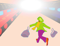 Late for the train. Woman running to catch her train vector illustration