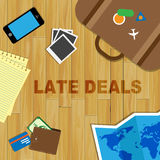 Late Travel Deals Means Last Minute And Bargain. Late Travel Deals Showing Last Moment And Promo stock illustration