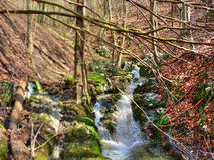 Late winter beautiful mountain creek - colorful nature Stock Image