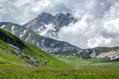 Late winter, early spring on the Italian Peaks stock photo