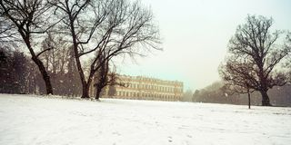 Late winter snowfall on the Park of Monza and its famous Royal V. Illa, Monza, Italy Stock Images