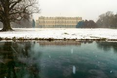 Late winter snowfall on the Park of Monza and its famous Royal V. Illa, Monza, Italy Stock Photography
