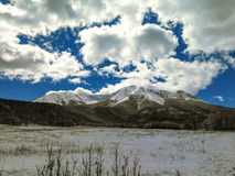 Late Winter on the Spanish Peaks stock images