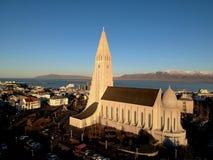 Reykjavik city center and Hallgrimskirkja church.