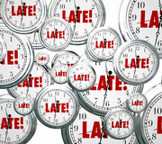 Late Word Clocks Flying Tardy Overdue Alarm Behind Schedule Royalty Free Stock Photography