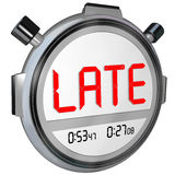 Late Word Stopwatch Timer Clock Tardy Delinquent Overdue Word. Late word on a clock, timer or stopwatch to illustrate being tardy, delinquent or overdue for work royalty free illustration