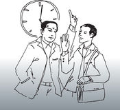 Late for work. Hand drawn image about a business man late for work and meet his boss stock illustration