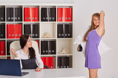 Late for work. Businesswomen. Royalty Free Stock Images
