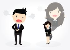 Late for work. Male boss angry at an employee late for work royalty free illustration