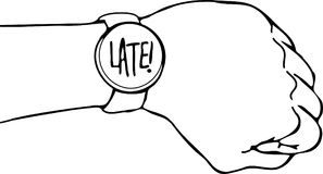 Late Wrist Watch Arm. Vector illustration of a wrist watch that reads late Royalty Free Stock Photo