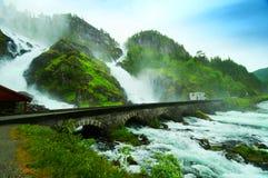 Latefoss Wasserfall Stockfoto