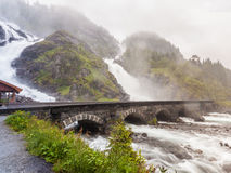Latefossen瀑布在挪威 库存照片