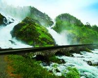 latefossen瀑布 库存图片
