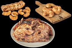Lateful Of Spit Roasted Pork Ham With Bunch Of Sesame Croissant Puff Pastry Isolated On Black Background Royalty Free Stock Photography