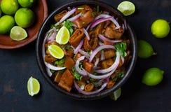 Lateinamerikanisches chilenisches Lebensmittel Salat ceviche essbaren Meerespflanze cochayuyo lizenzfreie stockbilder