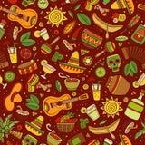Lateinamerikanisches der Karikatur von Hand gezeichnetes, mexikanisches nahtloses Muster Stockfotografie