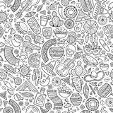 Lateinamerikanisches der Karikatur von Hand gezeichnetes, mexikanisches nahtloses Muster Stockbild