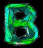 Lateinischer ernstlichbuchstabe B in der grünen Farbe der niedrigen Polyart lokalisiert auf schwarzem Hintergrund Lizenzfreie Stockfotos