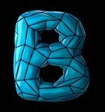 Lateinischer ernstlichbuchstabe B im blauen Plastik der niedrigen Polyart Farblokalisiert auf schwarzem Hintergrund Stockfoto