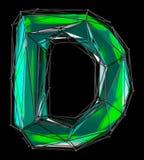 Lateinischer ernstlichbuchstabe D in der grünen Farbe der niedrigen Polyart lokalisiert auf schwarzem Hintergrund Lizenzfreies Stockfoto
