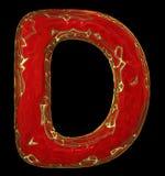 Lateinischer ernstlichbuchstabe D in der roten Farbe der niedrigen Polyart lokalisiert auf schwarzem Hintergrund Stockbilder