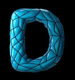 Lateinischer ernstlichbuchstabe D im blauen Plastik der niedrigen Polyart Farblokalisiert auf schwarzem Hintergrund Stockfotos