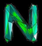 Lateinischer ernstlichbuchstabe N in der grünen Farbe der niedrigen Polyart lokalisiert auf schwarzem Hintergrund Lizenzfreie Stockfotografie