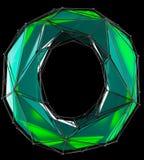 Lateinischer ernstlichbuchstabe O in der grünen Farbe der niedrigen Polyart lokalisiert auf schwarzem Hintergrund Stockfoto
