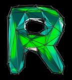 Lateinischer ernstlichbuchstabe R in der grünen Farbe der niedrigen Polyart lokalisiert auf schwarzem Hintergrund Lizenzfreies Stockfoto