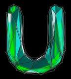 Lateinischer ernstlichbuchstabe U in der grünen Farbe der niedrigen Polyart lokalisiert auf schwarzem Hintergrund Lizenzfreie Stockfotos