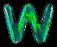 Lateinischer ernstlichbuchstabe W in der grünen Farbe der niedrigen Polyart lokalisiert auf schwarzem Hintergrund Stockbilder