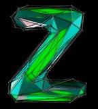 Lateinischer ernstlichbuchstabe Z in der grünen Farbe der niedrigen Polyart lokalisiert auf schwarzem Hintergrund Stockfotos
