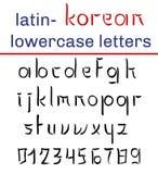 Lateinisches Alphabet der koreanischen Art Kleinbuchstaben und Stellen Hand schriftlicher Schrifttyp Stockbild